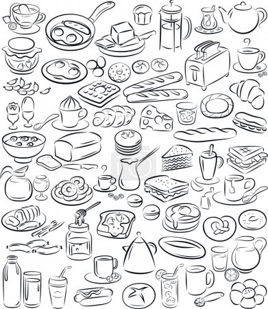 Vector illustration of breakfast collection in bla...