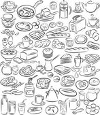 Vector illustration of breakfast collection in black and white