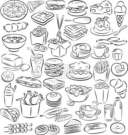 Photo pour Illustration vectorielle de la collection d'aliments et boissons en noir et blanc - image libre de droit