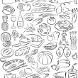 Vector illustration of food collection in black an...