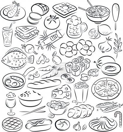 Illustration pour Illustration vectorielle de la collection alimentaire en noir et blanc - image libre de droit