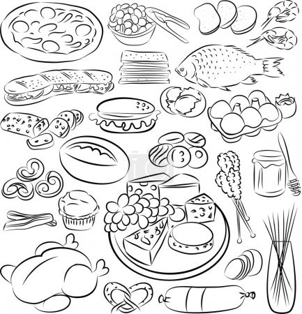 Illustration for Vector illustration of food collection in black and white - Royalty Free Image