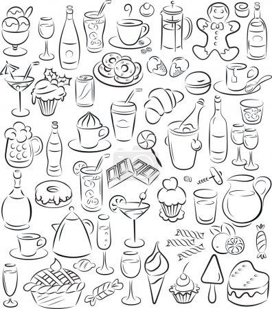 Photo pour Illustration vectorielle de la collection d'aliments et boissons sucrés en noir et blanc - image libre de droit