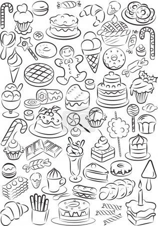 Illustration pour Illustration vectorielle de la collection d'aliments sucrés en noir et blanc - image libre de droit