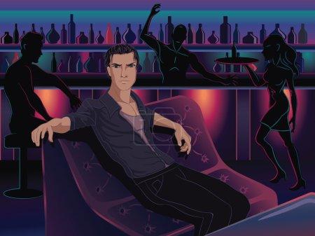 Illustration pour Bel homme assis dans un bar du club disco . - image libre de droit
