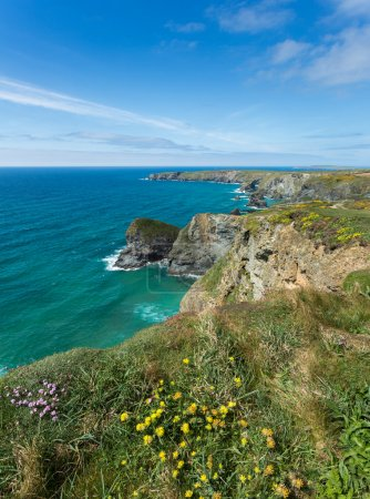 Photo for South west coast path near Bedruthan Steps Cornwall Uk - Royalty Free Image