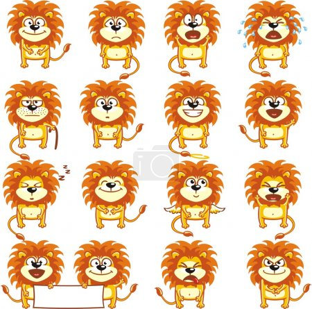 Illustration for Smiley lions individually grouped for easy copy-n-paste - Royalty Free Image