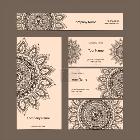 Retro Vintage business card. Vector background. Card or invitation. Vintage decorative elements. Hand drawn background. Islam, arabic, indian, ottoman motifs.
