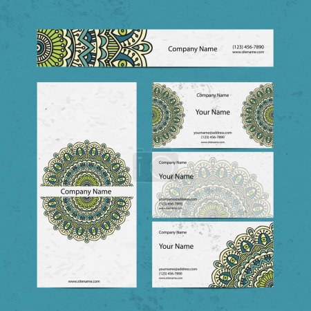 Illustration for Set retro business card. Vector background. Card or invitation. Vintage decorative elements. Hand drawn background. Islam, Arabic, Indian, ottoman motifs. - Royalty Free Image