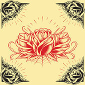 Roses and Frame Oldskool Tattoo style design set 01