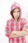 Agressive little hoodie girl