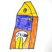 Dítě obrázek. dům s žlutým střechou. bílé pozadí