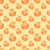 Yellow vector magic potions with deadly poison seamless pattern