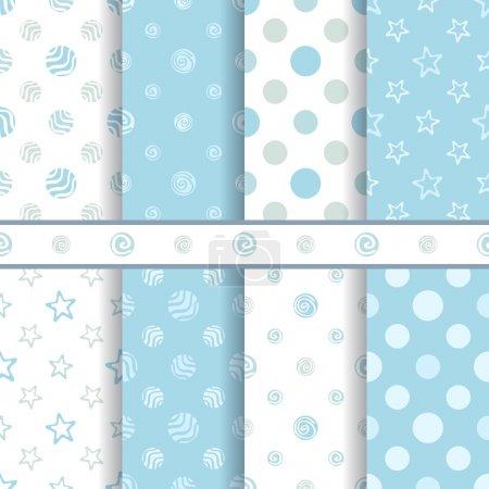Cute baby vector patterns set - seamless boy blue texture