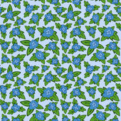 Vector blue floral seamless pattern - flower with leaves backgro