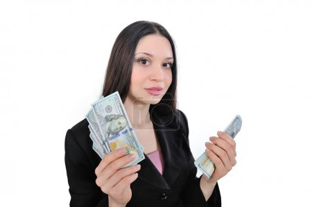 Business woman, business proposal, the operation of money and cu