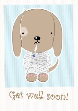 Cute Poor Sick Doggy, Get Well Soon Postcard