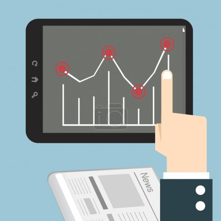 Hands with a tablet touch with graph