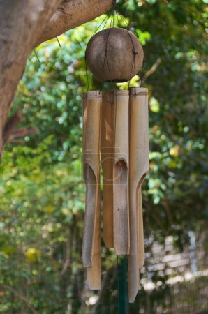 Bamboo Wind Chimes in an Olive Tree