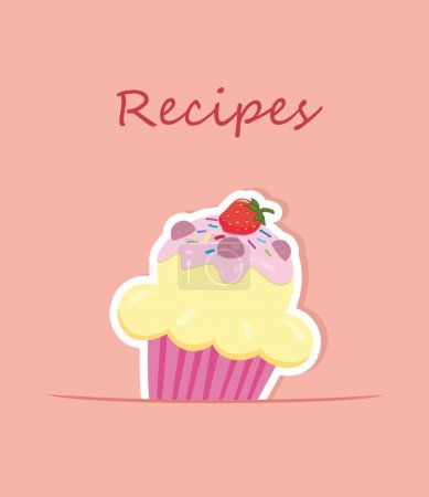 Recipe card or cooking book cover. Vector illustration
