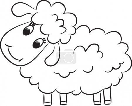 Illustration pour Bande dessinée de moutons. Illustration vectorielle - image libre de droit