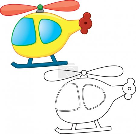 Illustration for Toy cartoon helicopter. Coloring book. Vector illustration - Royalty Free Image