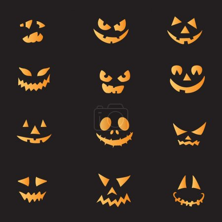 Illustration for Scary faces of Halloween pumpkin. Vector - Royalty Free Image