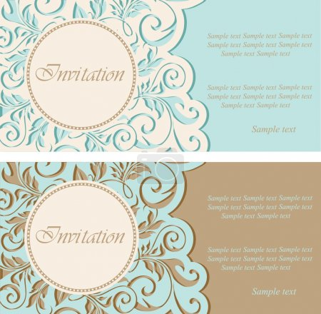 Vintage invitations with circle and floral elements