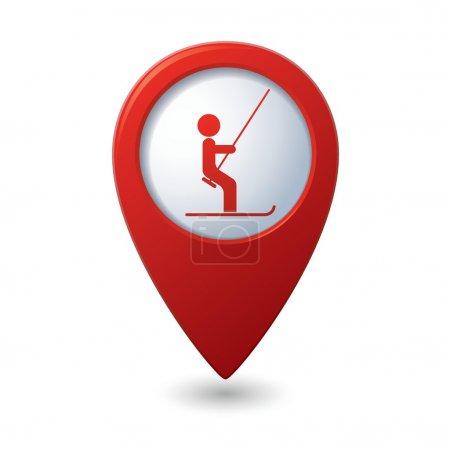 Map pointer with ski lift icon
