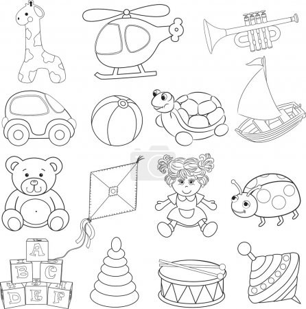 Baby's toys set. Outlined