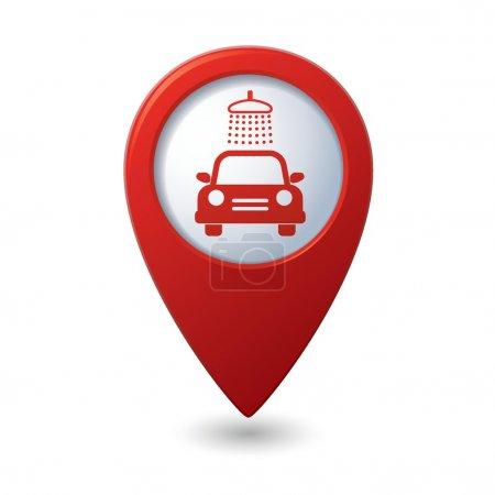 Illustration pour Icône de lavage de voiture sur le pointeur de carte - image libre de droit