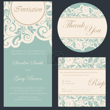 Beautiful vintage wedding invitation cards set