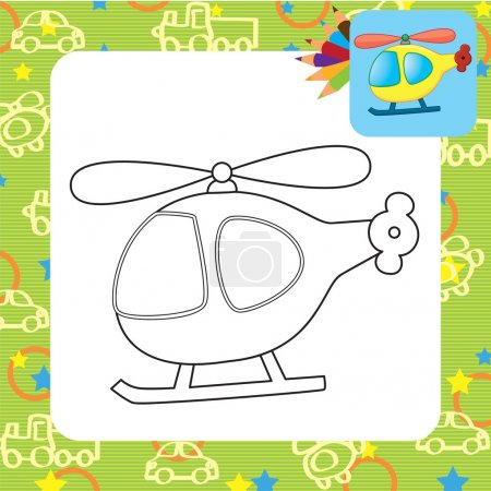 Toy helicopter. Coloring page