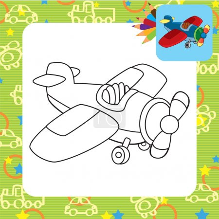 Toy plane. Coloring page