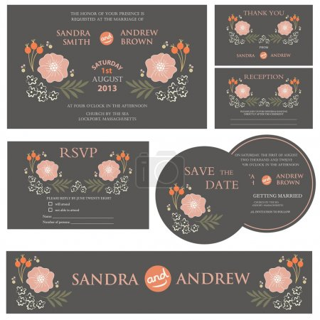 Illustration for Set of wedding invitation cards (invitation, thank you card, RSVP card, reception) - Royalty Free Image