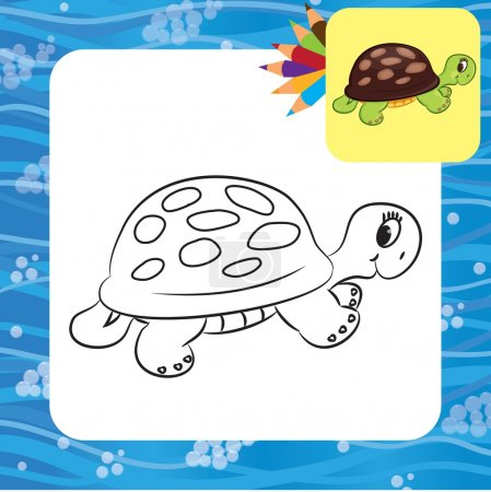Cartoon turtle. Coloring page