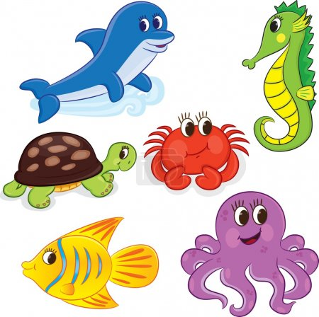 Set of outlined cartoon sea animals