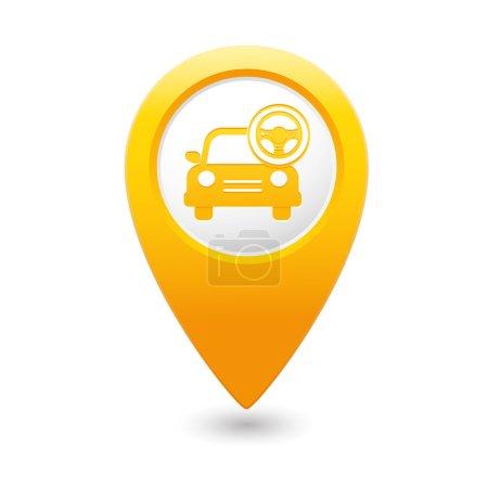 Illustration pour Service de voiture. Voiture avec icône de volant sur le pointeur de carte jaune. Illustration vectorielle - image libre de droit