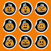 Halloween pumpkin stickers - vector illustration