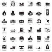 Buildings city icon set EPS10