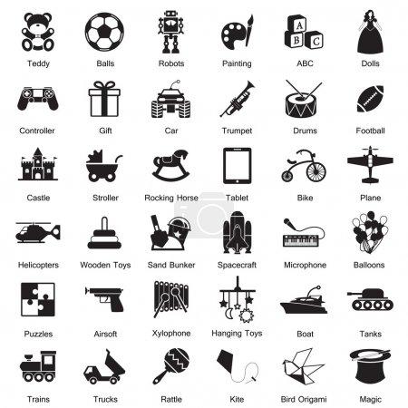 Illustration pour Jeu d'icônes jouets EPS10 - image libre de droit