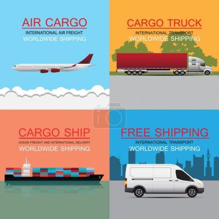 Illustration pour Concept mondial de vecteur de transport de marchandises - image libre de droit