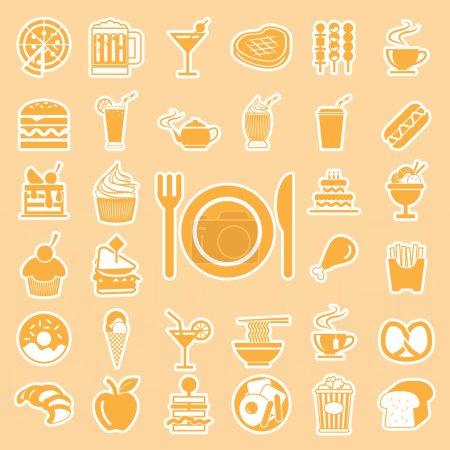 Photo pour Menu vectoriel aliments et boissons icônes ensemble - image libre de droit
