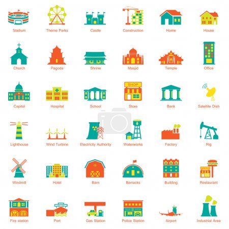Illustration for Buildings city icon set - Royalty Free Image