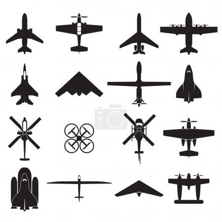 Airplane icons set