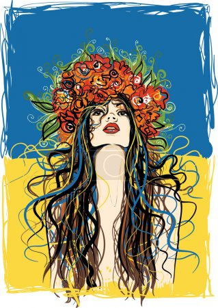 Illustration pour Ukrainienne fille en couronne de fleurs - image libre de droit
