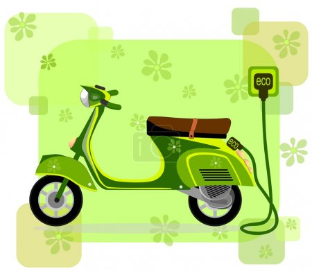Electric moped, charging via cable ,vector