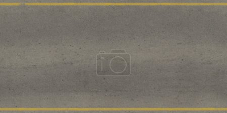 Seamless texture of grey, slightly worn road with yellow stripes.