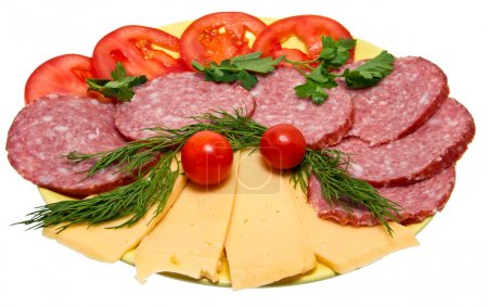 Photo for Snack sausage, cheese, tomatoes, greens - Royalty Free Image