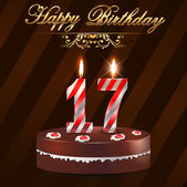 17 year happy birthday hard with cake and candles 17th birthday - vector EPS10